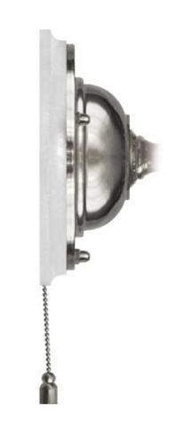 Wall plate in nickel with pull switch - White wood