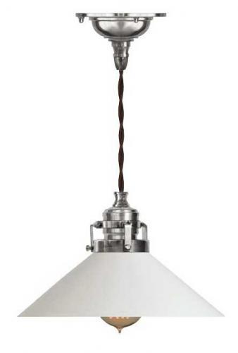 Taklampa - Skomakarsladd, förnicklad rak vit skärm