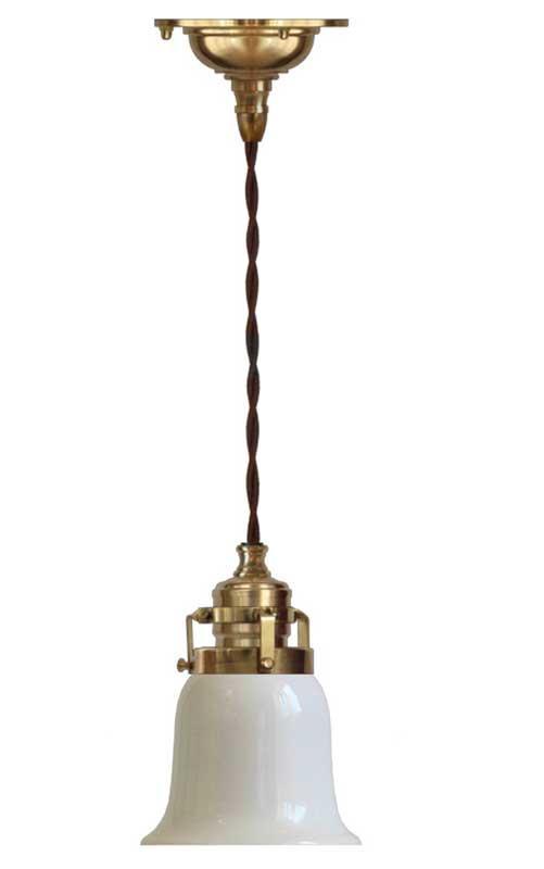 Taklampe - Skomakerlampe messing hvit klokkeformet skjerm