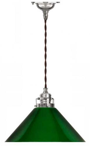 Taklampa - Skomakarsladd, förnicklad med grön skärm