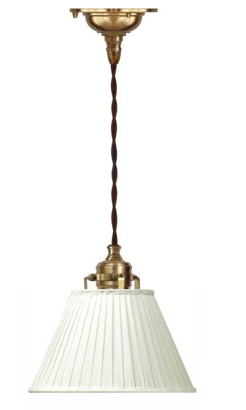 Taklampe - Skomakerlampe hvit tekstilskjerm