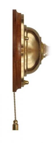 Wall plate in brass with pull switch - Dark wood