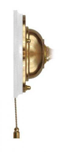 Wall plate in brass with pull switch - White wood