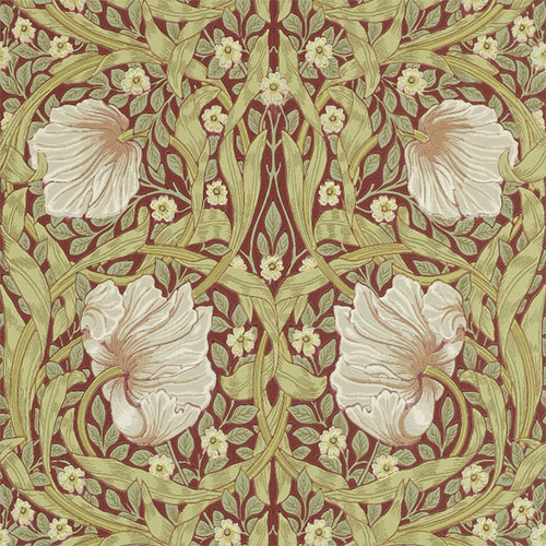 William Morris & Co. Wallpaper - Pimpernel Brick and/Olive - old style - vintage interior - retro - classic style