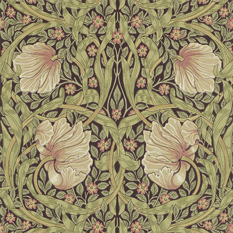 William Morris & Co. Tapet - Pimpernel Bellrush/Russet - gammaldags inredning - retro - klassisk inredningsstil