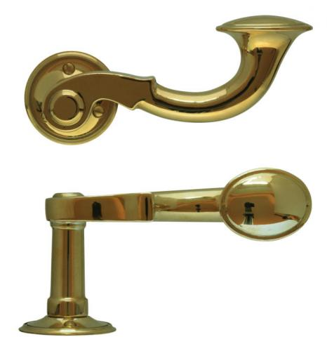 Door handle - Large posthorn brass