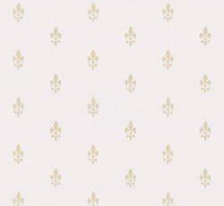 Lim & Handtryck Tapet - Fransk lilja vit/guld