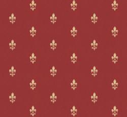 Lim & Handtryck Tapet - Fransk lilja röd/guld