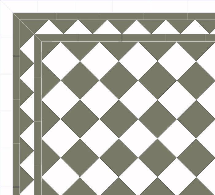 Granittkeramikk klinker - Sjakkrutete 15 x 15 cm grønn/hvit