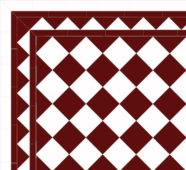 Floor tiles - 15 x 15 cm red/white Winckelmans