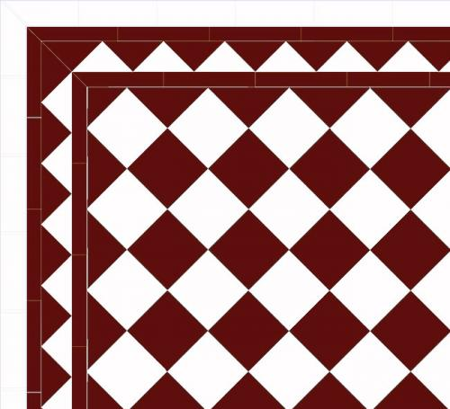 Floor tiles - 15 x 15 cm red/white Winckelmans