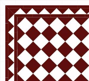 Granittkeramikk klinker - Sjakkrutete 15 x 15 cm rød/hvit