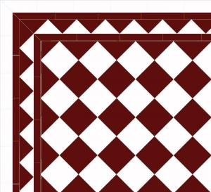 Granitklinker - Schackrutigt 15 x 15 cm röd/vit Winckelmans