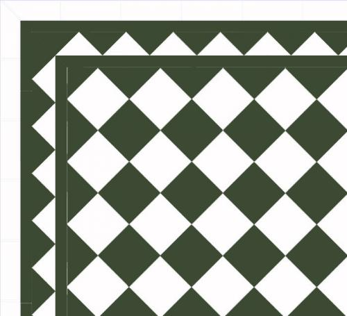 Floor tiles - 15 x 15 cm green/white Winckelmans