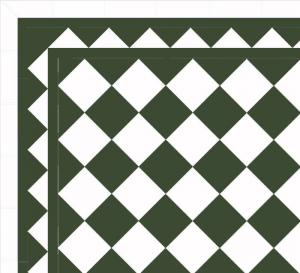 Floor tiles - 15 x 15 cm green/white Winckelmans