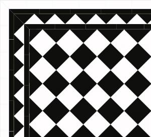 Floor tiles - 15 x 15 cm black/white Winckelmans