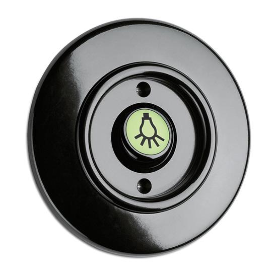 Switch round bakelite - Rocker glow-in-the-dark button lamp