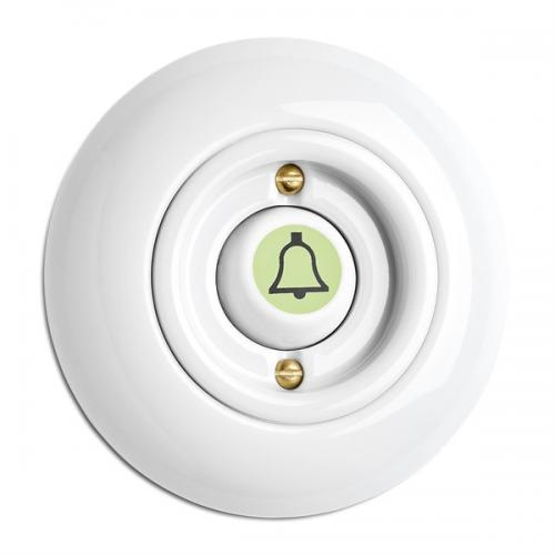 Switch round porcelain - Rocker glow-in-the-dark button door bell