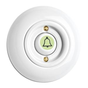 Switch round porcelain - Rocker glow-in-the-dark button door bell