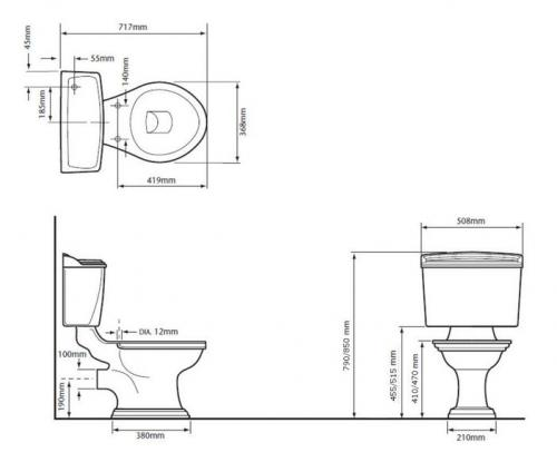 WC - Heritage Dorchester close coupled WC flush lever & seat - old style - classic interior - retro - vintage style