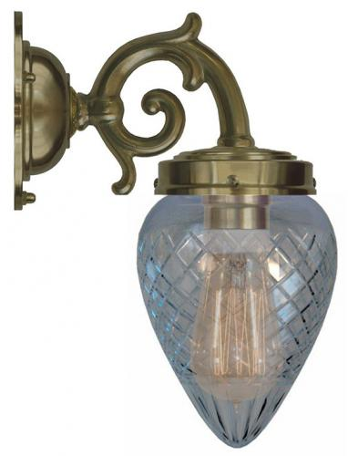Bathroom Lamp - Topelius antique brass, clear drop