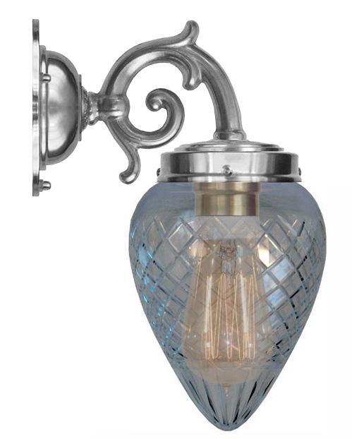 Baderomslampe - Topelius forniklet klarglass dråpe