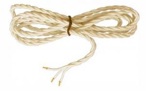 Textilsladd - Gulvit tvinnad treledare
