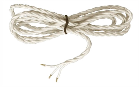 Textile cord - Pure white twisted 3-leading