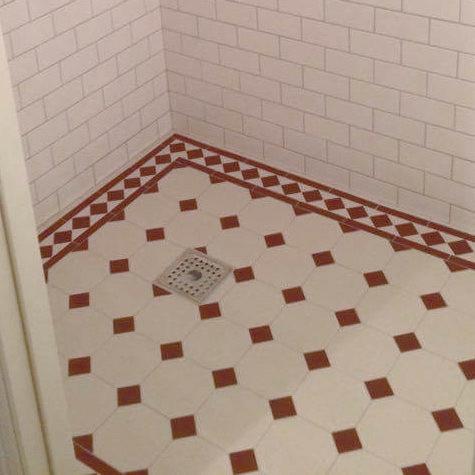 Inspiration - Winckelmans octagon floor tiles, white/red