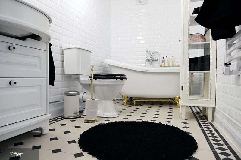 Badrumsinspiration - Före- och efterbilder - klassiskt badrum i svart och vitt - sekelskifte - gammaldags inredning - retro - klassisk stil