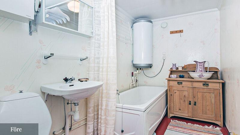 Förebild - badrumsrenovering i svart och vitt - sekelskifte - gammaldags inredning - retro - klassisk stil