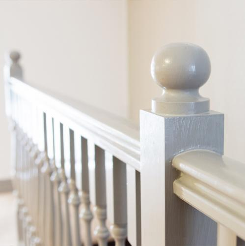 Build your own stair railing of newel posts - old style - vintage style - classic interior - retro
