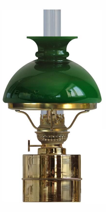Fotogenlampa Flaggskär mässing med grön skärm
