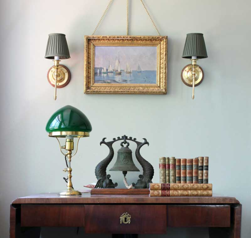 Table Lamp Fahlcrantz Br With Green Gl