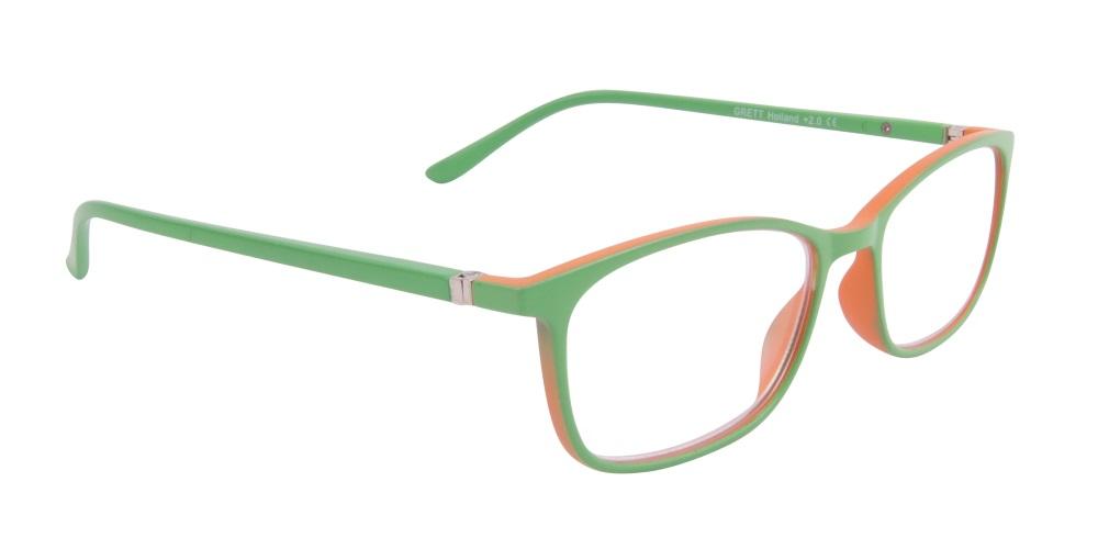 Holland-lätta o smäckra läsglasögon i matt grönt och orange fc4c6f3162c2a