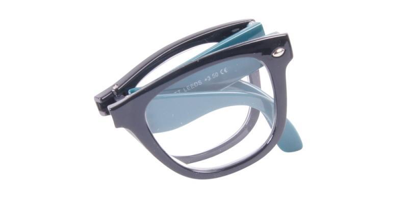 Leeds - vikbara svarta och gröna läsglasögon