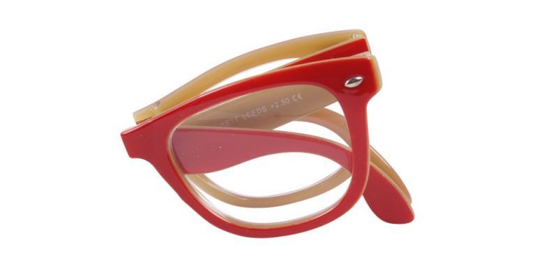 Leeds - vikbara gula och röda läsglasögon