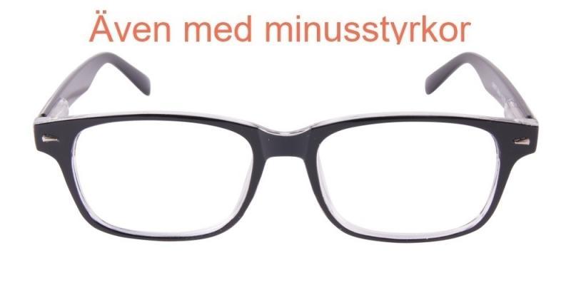 Stoke - blanka svarta glasögon med transparenta delar