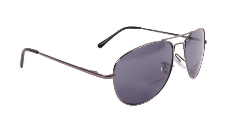 Solglasögon med läsruta i grått snett framifrån