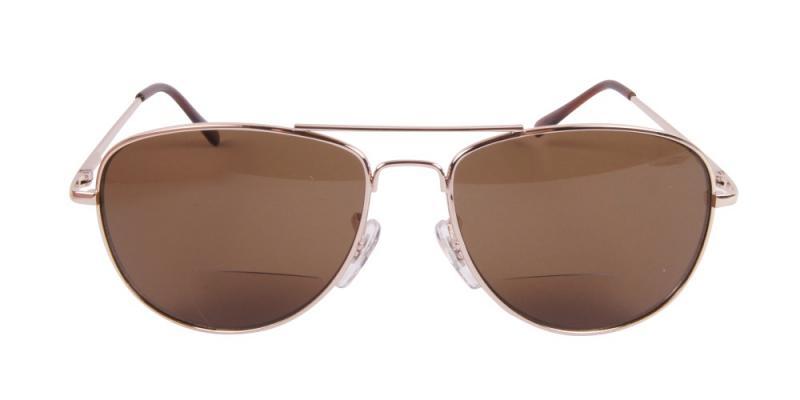 Solglasögon med läsruta i guld framifrån