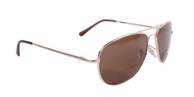 Solglasögon med läsruta i guld snett framifrån