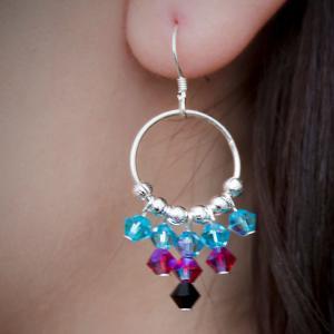 Sunshine - hoopörhänge i äkta sterlingsilver med swarovski kristaller