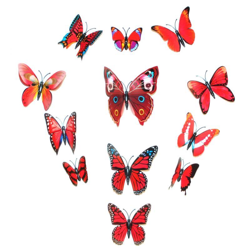 Dekorativa röda fjärilar i PVC med magnet