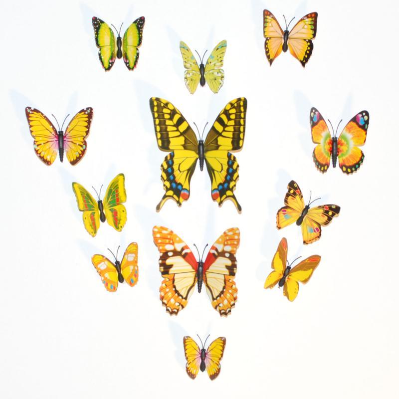 Dekorativa gula fjärilar (modell 2)
