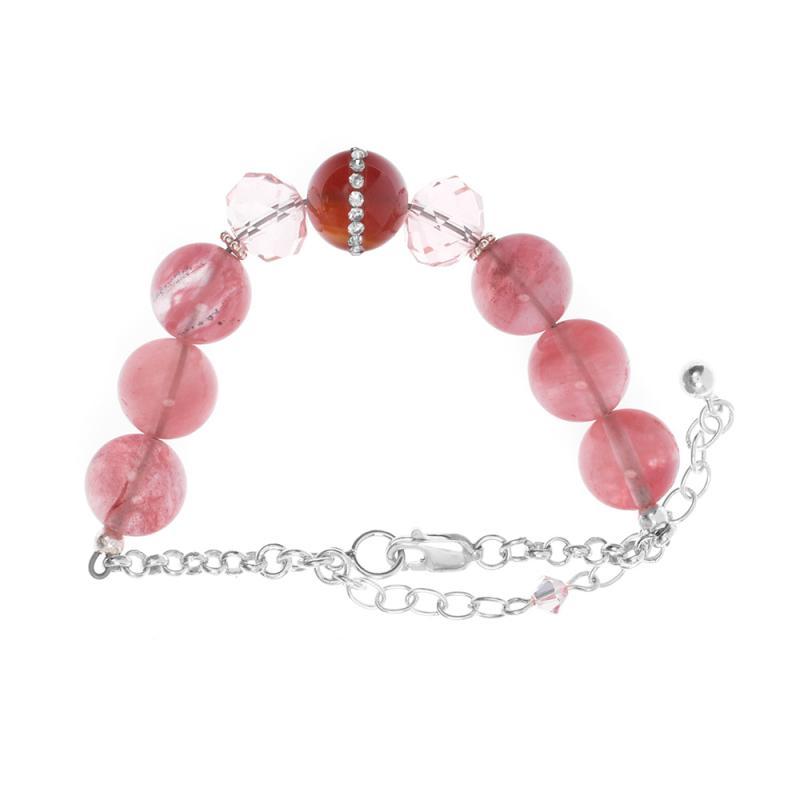 Armband i sterlingsilver med naturliga rosa vattenmelonstenar