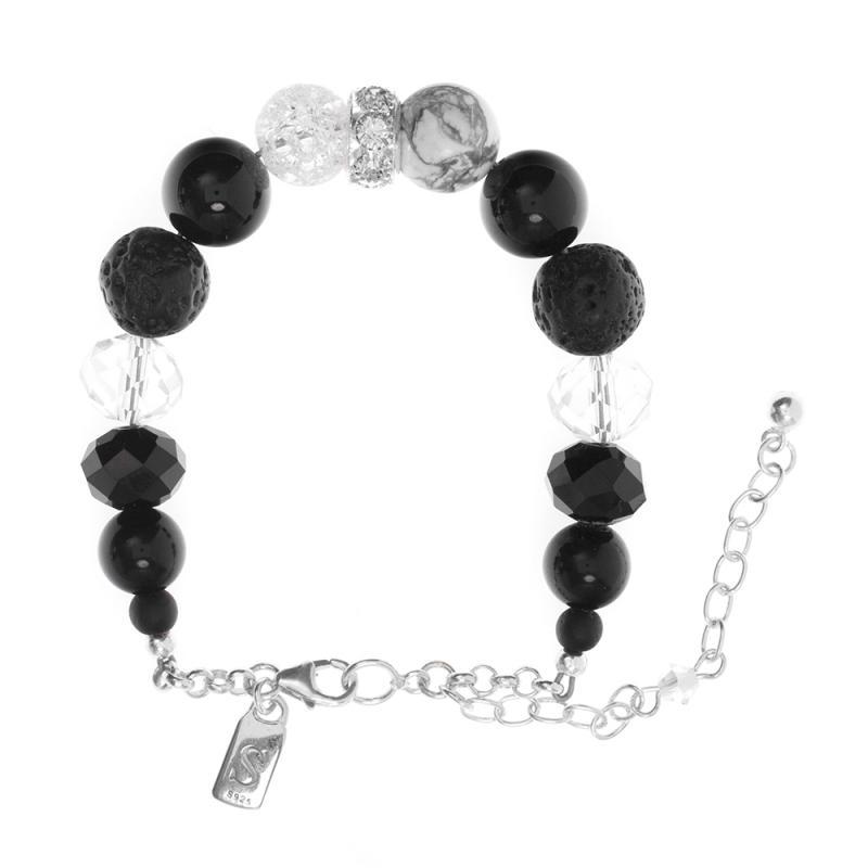 Armband i sterlingsilver med naturliga Onyxstenar