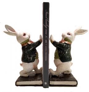 Bokstöd (par) Vita kaninen Stampe