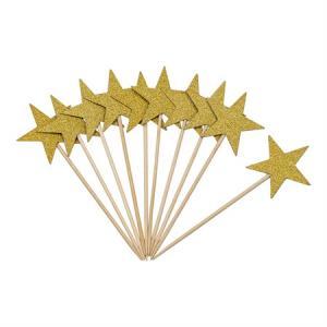 TOOTHPICKS GLITTER STARS 10-PACK GULD
