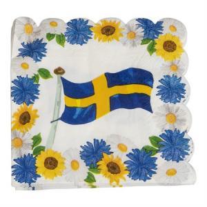 SERVETTER 33X33CM SVENSKA FLAGGAN