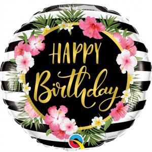 Folieballong 46cm blommor Happy birthday